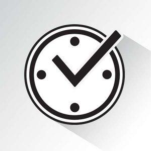 88755099-時計、影とリアルタイム保護のアイコンにチェック-マーク。黒と白のベクトル図です。